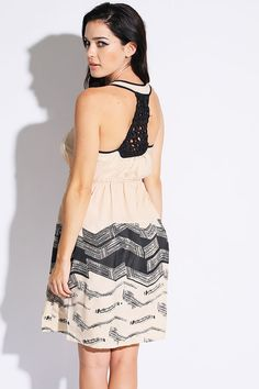 #1015store.com #fashion #style beige ruched abstract printed knotted back a line sundress-$15.00