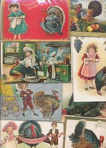 VINTAGE-LOT-OF-PRE-1920S-THANKSGIVING-POSTCARDS-ANTIQUE-ttt17