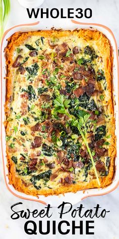 Sweet Potato Bacon Quiche – Dairy Free A healthy breakfast casserole made with a delicious sweet potato crust. This one is loaded with bacon, kale and mushrooms, but customize this sweet potato quiche and make it your own. Paleo Breakfast Casserole, Potatoe Casserole Recipes, Quiche Recipes, Brunch Recipes, Breakfast Recipes With Kale, Paleo Quiche, Gluten Free Quiche, Healthy Quiche, Sweet Potato Kale