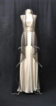 Black and Silver Waltz Length Wedding Veil by Honeycombveils