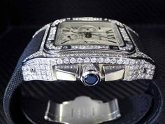 Custom Cartier Santos 100 XL Chronograph Men's Diamond Watch