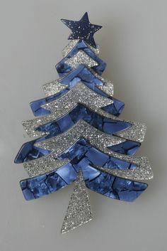 Lea Stein Blue Marbled Christmas Tree Pin w Silver Sparkles Paris | eBay