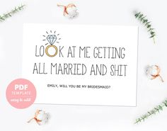 Bridesmaid card. Funny bridesmaid template card. Made of honor card. Bridesmaid proposal editable PDF template for instant download. BMP004 by PenguinGraphics on Etsy