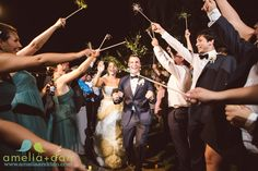 """Legare Waring House doesn't allow sparklers at their venue! That didn't stop our crafty bride! She made her own """"fake"""" sparklers for the sendoff! LOVE IT!"""