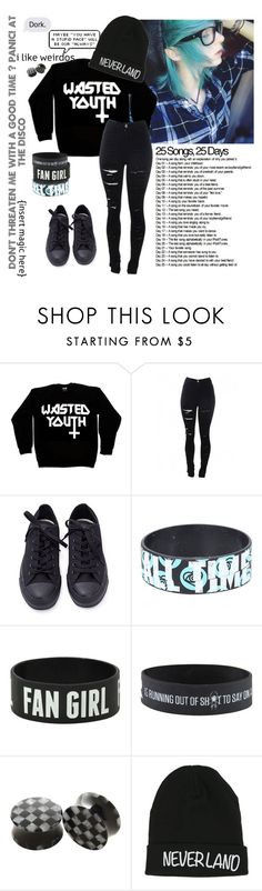 """Day Twenty Four"" by emokittyyy ❤ liked on Polyvore featuring Killstar, Converse and Disney"
