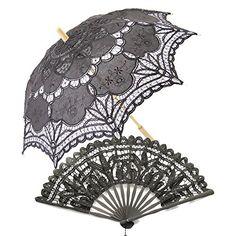 Victorian style Romantic Wooden Lace Parasol with Folding Fan Color:Black