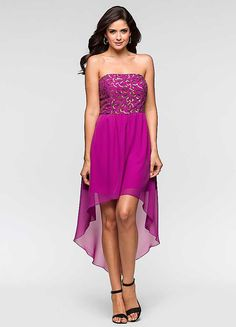 Sequin Bust Hi-Lo Dress
