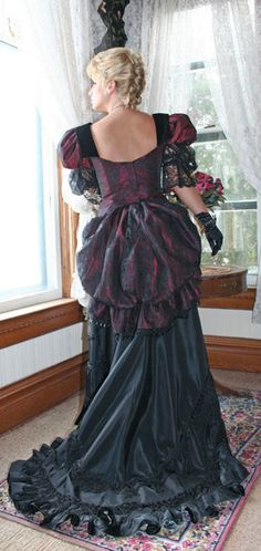 """There were three distinct fashion trends during the Victorian era, and all are considered """"bustle Dresses"""". These were the Early Bustle period (1869-1876), the Natural Form period (1877-1882), and the Late Bustle period (1883-1889). The combination of a tight bodice and a very full skirt with bustle and drapery was thought to enhance the look of a tiny waist. A 15-inch waist was considered idea"""