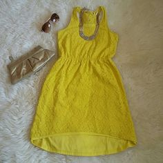 Final price! Fun bright tank top dress Super cute and fun yellow tank top dress, can be dressed up or down, perfect for summer. Too small for me in the chest area Final price unless bundled! 3+ items get 20% off Dresses High Low