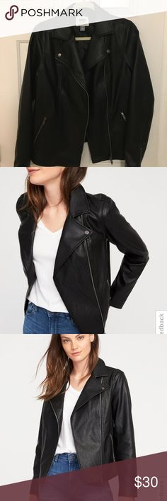 Faux Leather Jacket Women's Medium Tall Faux Leather Jacket from Old Navy. New without tags. I found another jacket before I had a chance to wear it. It was originally $70, it's now selling online for $50. Old Navy Jackets & Coats