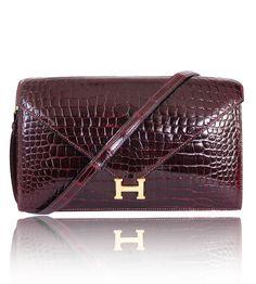 Hermes Burgundy Crocodile Porosus Lisse Lydie 2way Shoulder Rare – Garo Luxury