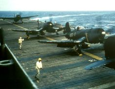 Corsairs preparing to takeoff, war in the Pacific. Wood deck...one reason the carriers were so vulnerable to suicide bombers.