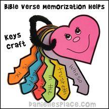 Bible verse keys Bible Craft from www.daniellesplace.com for Children's Sunday School