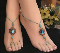 Coral Turquoise Beaded Barefoot Sandals