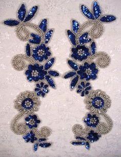 Espejo azul y plata par Sequin abalorios apliques 0183 (0183-BLSL)