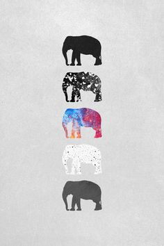Five elephants Art Print