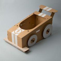 Cardboard crafts, cardboard car, cardboard playhouse, craft activities for kids Cardboard Box Crafts, Cardboard Playhouse, Cardboard Crafts, Race Car Costume, Diy Toys Car, Carton Diy, Diy Karton, Race Car Party, Cartonnage