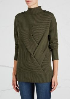 rag & bone olive ribbed merino wool jumper Ribbed, high neck, button-fastening epaulettes and cuffs, crossover knot effect at front Slips on 100% merino wool