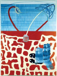 Juan Uslé, Jugadores del país del queso, 1996, vinyl, dispersion and dry pigment on canvas, 108 × 80 inches.