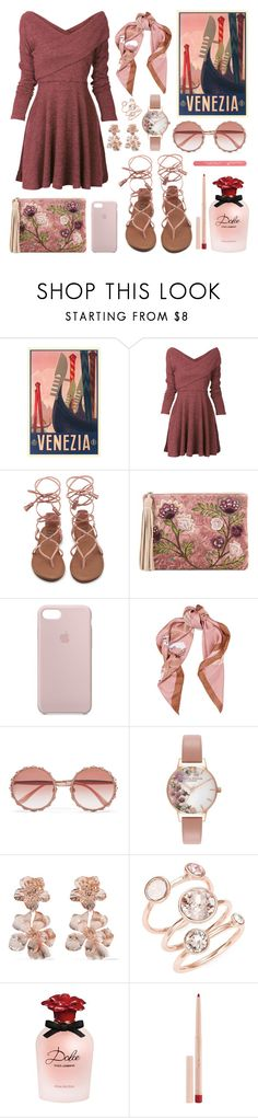 """""""Fall in Venice"""" by katie-longmore ❤ liked on Polyvore featuring Sam Edelman, Apple, Moschino, Dolce&Gabbana, Olivia Burton, Oscar de la Renta, Ted Baker, Maybelline, rose and venice"""