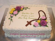 communion cake - plastic cross dipped in chocolate? Bautizo Cakes, Funeral Cake, Bible Cake, First Holy Communion Cake, Cross Cakes, Religious Cakes, Confirmation Cakes, Occasion Cakes, Girl Cakes
