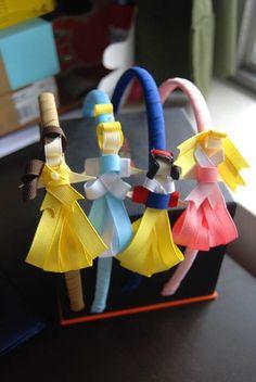 Tiaras em que as princesas são feitas com as fitas! Demais!
