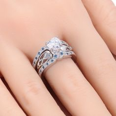 (Processing Time: 30 Working Days)Exquisite 925 Sterling Silver Blue CZ Engagement Ring Set