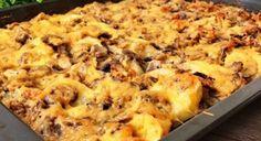 Zapečené vepřové s bramborami a houbami - VařímeDobroty.cz Cauliflower, Macaroni And Cheese, Vegetables, Ethnic Recipes, Food, Mac And Cheese, Cauliflowers, Essen, Vegetable Recipes