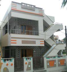 Village House Design, Bungalow House Design, House Front Design, Building Elevation, House Elevation, Indian House Plans, Balcony Railing Design, Front Elevation Designs, Independent House