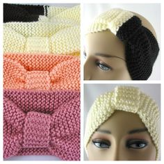 Hand Knit Ear Warmer Turban Style - Off White, Black, Rose, Peach Earwarmer