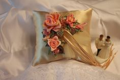 Wedding Ring Bearer Pillow in Gold satin with Peach/Coral RibbonWork Roses and flowers embellished with Tulle, pearls, seed beads