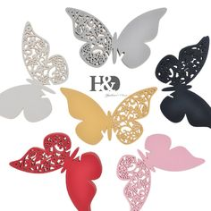 Six Colors for your Chose 12PCS Butterfly Laser Cut Paper Place Card / Escort Card / Wine Glass Card For Wedding Favors Decor