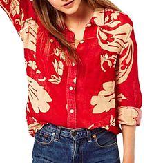 Women's Long Sleeve Chiffon Fashion Loose Shirt - USD $ 29.39