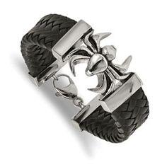 Fine Jewelry Mens Stainless Steel & Black Leather Spider Bracelet ZOrtdt
