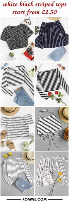 white black striped tops from £2.50