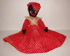 "Antique Vintage, Doll, Collectible, Black Americana, AUNT JEMIMA, Cloth, Red Dress, 19""."