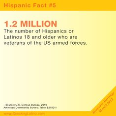 HISPANIC FACT 5 | 1.2 MILLION is the number of Hispanics or Latinos 18 and older who are veterans of the US armed forces.  Speaking Latino celebrates the Hispanic Heritage Month. #Hispanic #Latino via http://www.speakinglatino.com/15-facts-about-hispanics-in-the-united-states-for-hispanic-heritage-month/