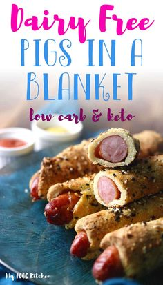 Delicious dairy free pigs in a blanket wrapped in a magic keto dough. These super crispy and juicy sausage rolls are the perfect low carb appetizer to serve. Serve with your favorite low carb dipping sauce. Low Carb Appetizers, Low Carb Desserts, Low Carb Recipes, Dessert Recipes, Cooking Recipes, Free Recipes, Cheesecake Recipes, Lunch Recipes, Kitchen Recipes