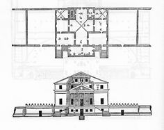 As with many plans and elevations the temple roof was changed to a hipped roof, and the attic gable  was modified with more streamline profile. 5) Villa Foscari, called 'La Malcontenta'; Malcontenta di Mira (Venezia