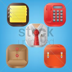 set of office icons Stock Vector