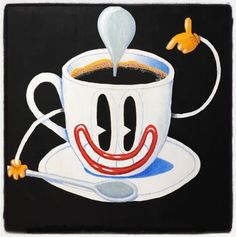 Paolo Deandrea - A cup of coffee?  - Acrylic painting on Wood - 40x39 cm - 2017