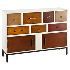 Console table with assorted wood drawer fronts and pulls.   Product: Console tableConstruction Material: Poplar, MDF, ...