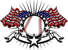 Baseball Vector Template with Flag