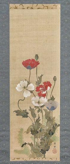 Poppies. Suzuki Kiitsu. Nineteenth century Japanese hanging scroll. The Met Museum.