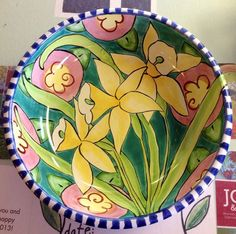 Damariscotta Pottery daffodil serving bowl