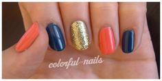 coral navy and gold glitter