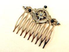 Haarkämme - Kompass Haarkamm in silber mit Kristallen in blau - ein Designerstück von glitzerkaestchen bei DaWanda