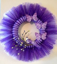 Items similar to Purple Spring Tulle Wreath on Etsy Tulle Projects, Tulle Crafts, Wreath Crafts, Diy Wreath, Tulle Wreath Tutorial, Wreath Ideas, Easter Wreaths, Holiday Wreaths, Easter Crafts
