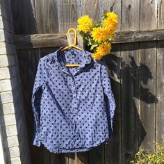 {J. Crew Polka Dot Top} Cute and unique top. Button down in the front. Pre loved but in good condition. Fits true to size. J. Crew Tops Button Down Shirts