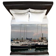 Sunset and boats, Isle of Wight King Duvet on CafePress.com